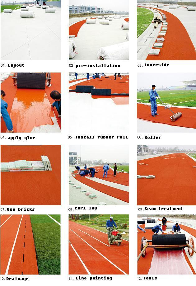 Prefabricated Athletics Running Track , Outdoor Play Area Rubber Athletic Track