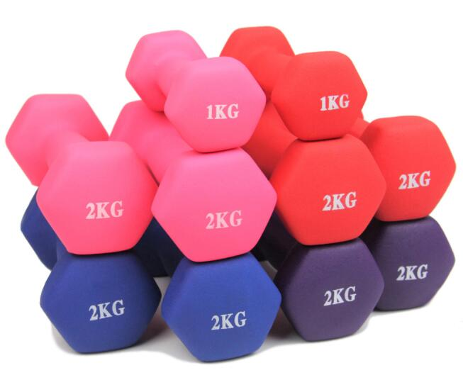 Colorful Commercial Exercise Equipment For Home Vinyl Coated Dumbbell Set