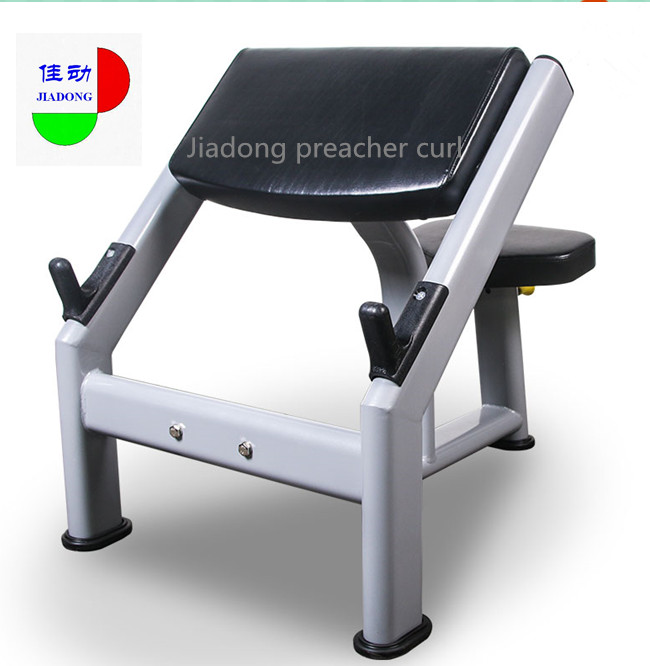 PU Leather Seated Bicep Preacher Curl Machine , Scott Curl Bench For Gym Clubs